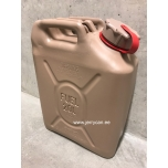 05577R Scepter jerry can (military fuel can) 20L Sand / Red strap notes PETROL